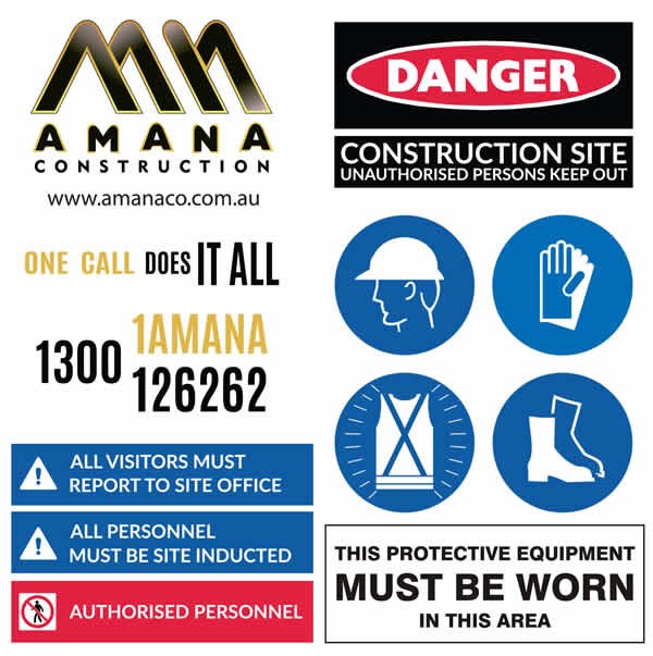 amana contruction site sign x m